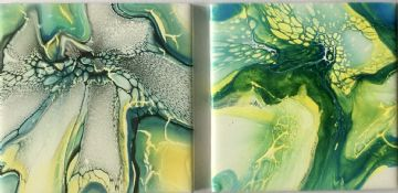 Set of 2 Hand Painted Ceramic Coasters Green & Yellow made in UK (15) (18)